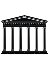 Portico (Colonnade), ancient temple - bkack, isolated