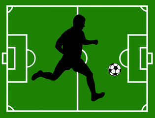 Silhouette of a soccer player with field in background