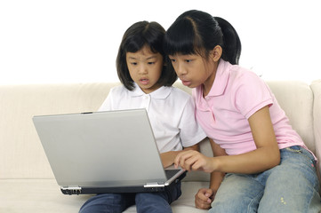 Happy sisters use laptop for internet together at home on sofa