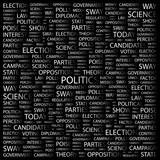 POLITICS. Word collage on black background. poster