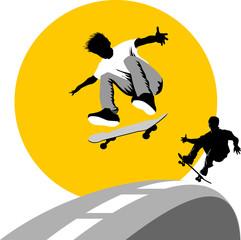 skateboard moon