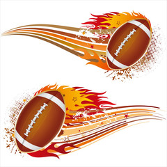 american football with flames