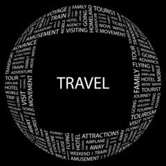 TRAVEL. Word collage on black background. Vector illustration.
