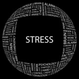 STRESS. Word collage on black background. poster