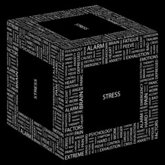STRESS. Word collage on black background.