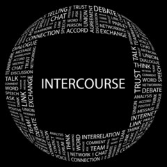 INTERCOURSE. Word collage on black background.