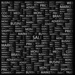 SALE. Word collage on black background.