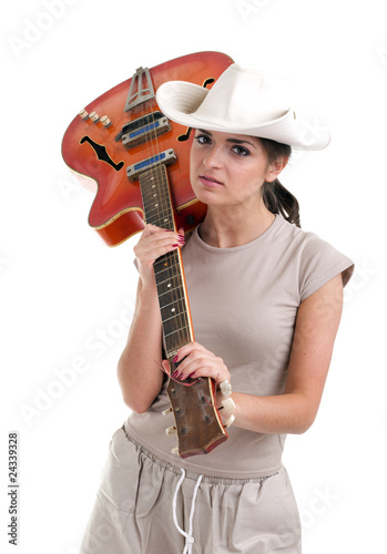 young female tourist with orange electric guitar