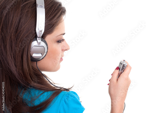 woman in headphones with mp3 player