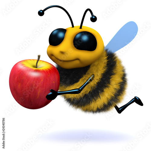 3d Bee carries apple
