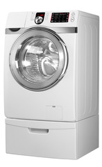 Washing machine on the white background with Clipping Path.