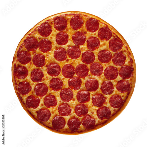 Pepperoni Pizza on the white background with Clipping Path.