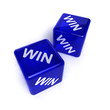Win-Win Situation - two blue transparent dice over white