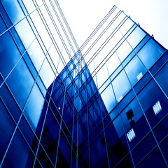blue glass transparent wall of modern bulding house