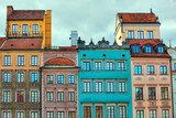Fototapety HDR image of old Warsaw houses