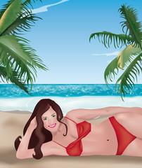 ragazza sdraiata in spiaggia