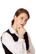 Geschäftsfrau denkt nach um Problem zu lösen - contemplative