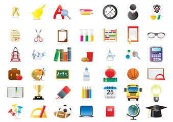 Vector illustration of set of several school icons