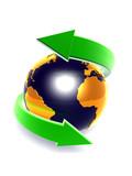 green arrow with globe