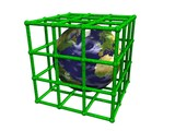 Earth in green cage