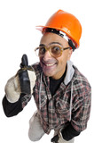 Constructor worker with big glasses isolated in white poster