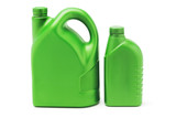 Big and small plastic lubrication oil containers poster