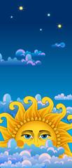 Vertical blue banner. Big hot gold sun on clouds.