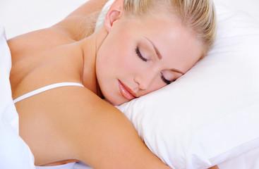 portrait of pretty sleeping beautiful young woman