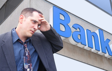 Stressed Money Business Man at Bank