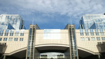 Time lapse clouds over European Parliament, Brussels