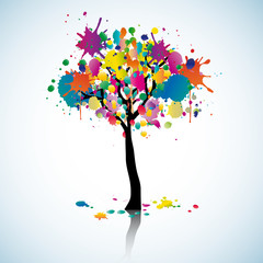 Colorful blot tree