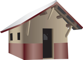 A 3D illustration of a Wooden Shack