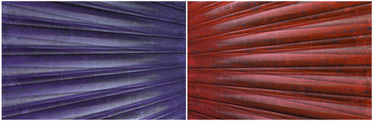 Red and blue corrugated iron background set