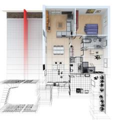 pianta ortogonale casa wireframe cad arredamento