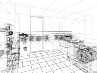 3d wireframe lavanderia