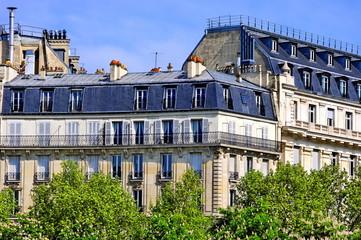 Immeubles de pierre blanche aux toits gris avec arbres.
