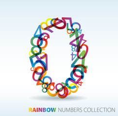 Number zero made from colorful numbers