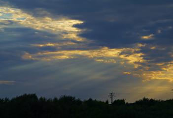 night sky with bright rays