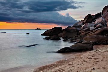 Tropical sunset on the beach. Thailand