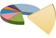 Copy space solution missing piece of pie chart