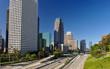 Los Angeles city skyline and freeway
