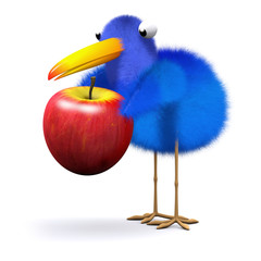 3d Blue bird with enormous juicy apple