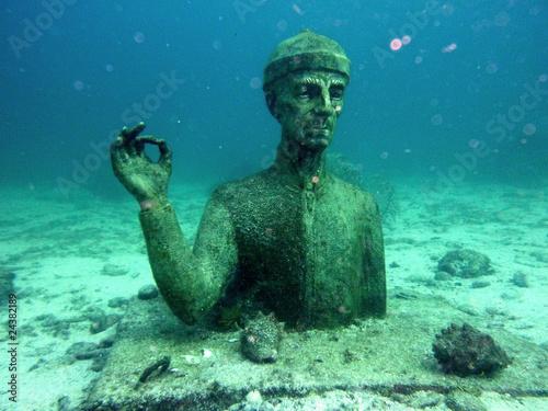 Leinwanddruck Bild Statue du commandant Cousteau