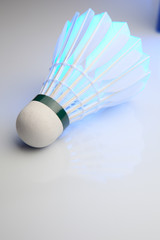 Badminton shuttlecock on white.