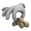 wooden toy car held between fingers