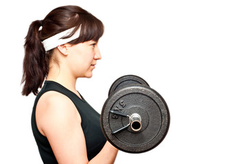 young woman doing a bicep curl isolated on white