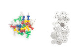 colored drawing pins and metal thumbtacks isolated on white