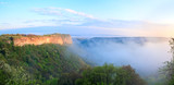 Morning misty view from top of Mangup ancient settlement poster