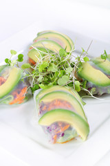 spring roll wrapper with microgreens