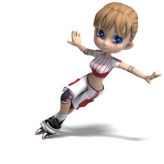 cute cartoon girl with inline skates. 3D rendering with clipping